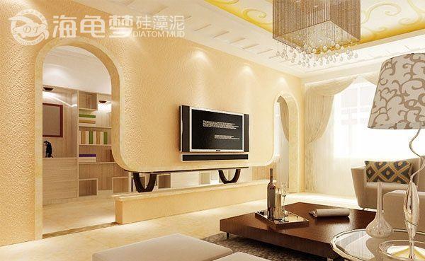 客厅喷涂电视背景墙
