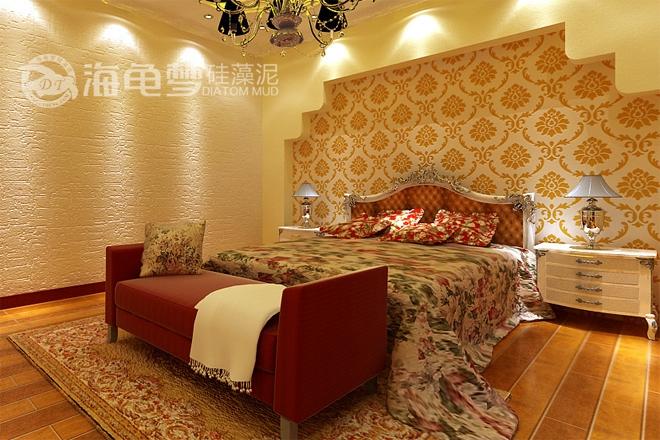 欧式床头印花加拉丝背景墙